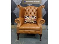 Stunning NEW Chesterfield Queen Anne Wing Back Chair in Tan Brown Leather - UK Delivery