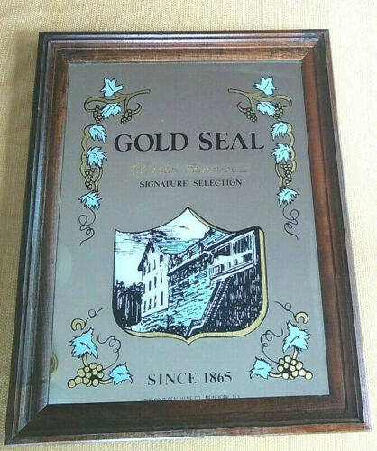 VINTAGE GOLD SEAL WINE CHARLES FOURNIER MIRRORED BAR SIGN