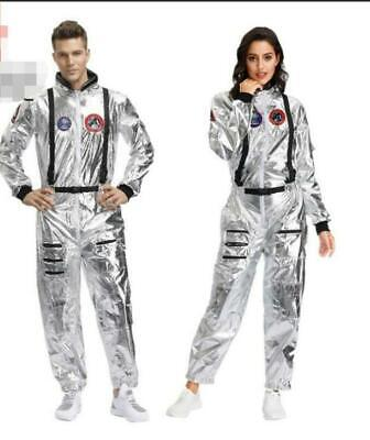 Silver Space Suit Costume (Adult Astronaut Jumpsuit Costume Cosplay Space Suit Silver Shuttle Halloween)