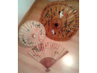 Oriental Umbrella's, Large Fan and coloured small Fans Good Cond.
