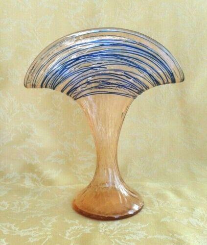 Kralik Czech 1920s-1930s Art Deco Glass Fan Vase Yellow W Blue Threading
