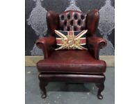 Fantastic Chesterfield Queen Anne Wing Back Chair Oxblood Leather - UK Delivery