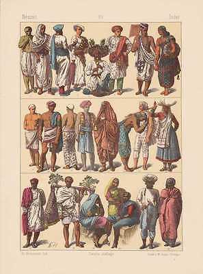 Tracht Von Indien (Indien Trachten Muselmann Hindu LITHOGRAPHIE von 1883 Priester Gaukler  )