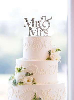 Bride Cake Topper - Mr and Mrs Sign, Bride And Groom Cake Topper Silver, Wedding Decorations, USA