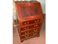 Stunning Inlaid YEW WOOD Fall Front Bureau, Lovely natural inlay on wood,
