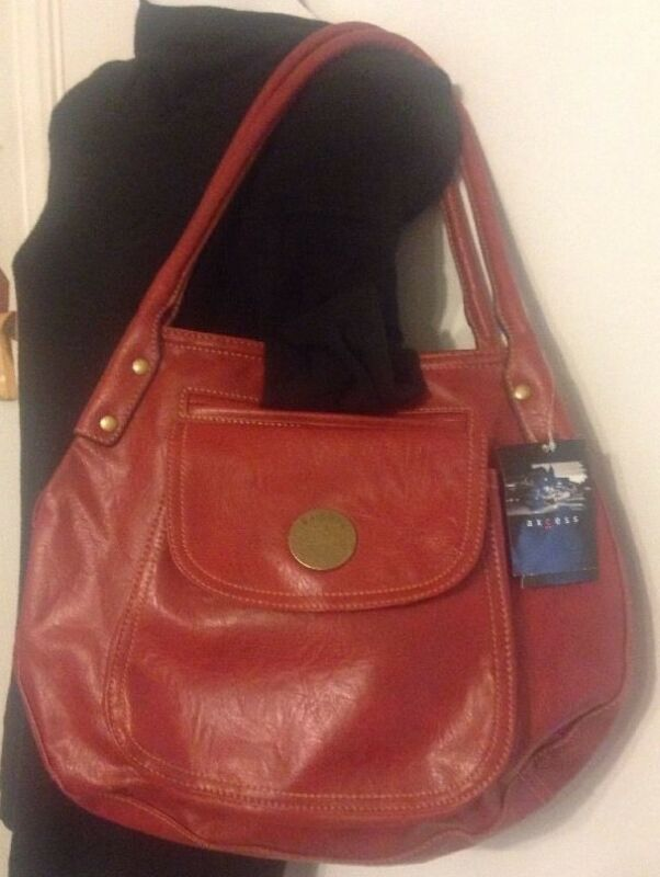 Axcess by Liz Claiborne Hobo Hand Bag Purse Faux Leather 2 Handle Cherry Red NWT