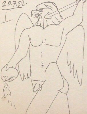 "PICASSO mounted vintage lithograph print, 1952, 10 x 8"", eagle warrior GP75b"