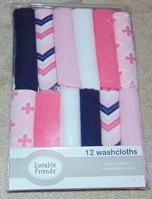 ~12 NEW Girls LUVABLE FRIENDS Washcloths! Cute FS:)~