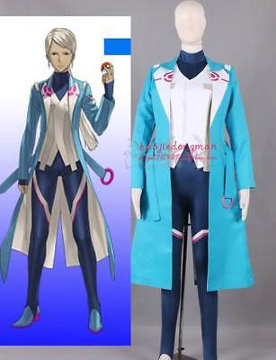 Cool Costums (Anime Pokemon Go Team Captain Blanche Uniform Cosplay Costume Cool Blue Coat)