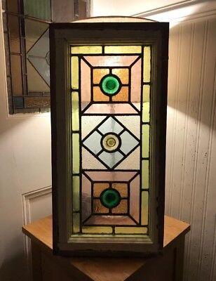 Original Antique Edwardian Stained Glass Leaded Window Side Fan Light  Victorian