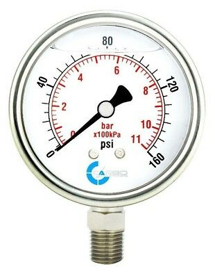 2-12 Pressure Gauge Stainless Steel Case Liquid Filled Lower Mnt 160 Psi