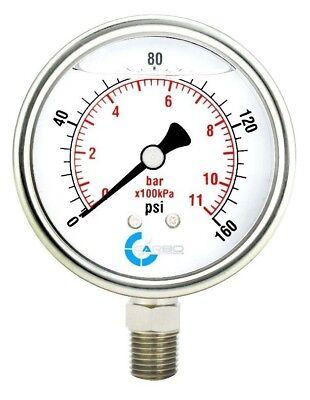 2-12 Pressure Gauge Stainless Steel Case Liquid Filled Lower Mnt 160 Psi