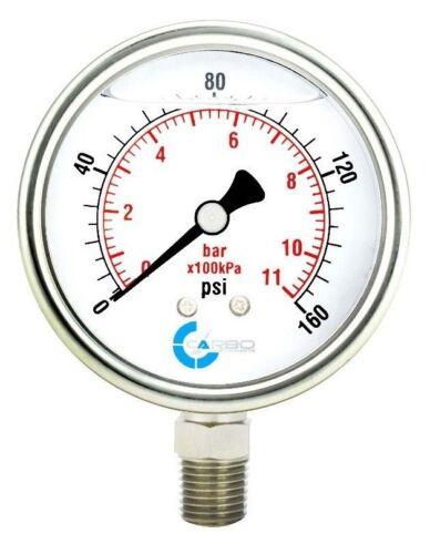 "2-1/2"" Pressure Gauge, Stainless Steel Case, Liquid Filled, Lower Mnt 160 PSI"