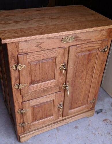 Vintage White Clad Oak Ice Box Cabinet Simmons Hardware St Louis Mo Bonita Spgs