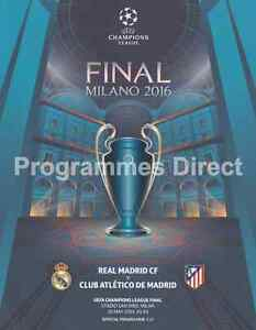 CHAMPIONS LEAGUE FINAL 2016  ATLETICO MADRID REAL MADRID OFFICIAL PROGRAMME