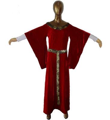 Red Renaissance Dress Costume (Womens Renaissance Gown Costume Medieval Medium Dress Red Velour)