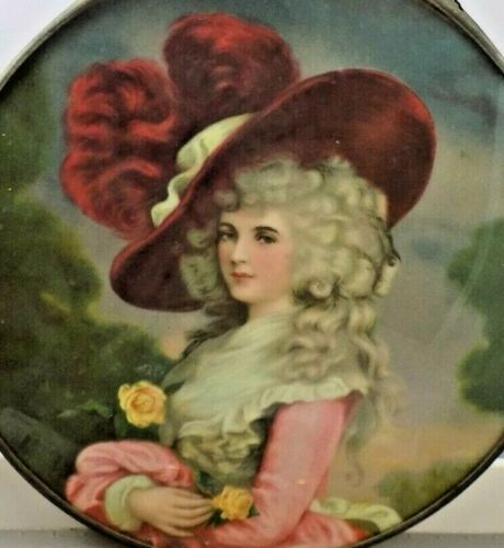 Antique Victorian Chimney Flue Cover Beautiful French Lady Litho 9.5""