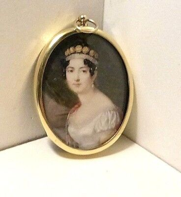 Portrait Miniature of the Empress Josephine on an oval brass frame.