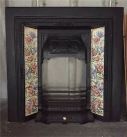 Victorian cast iron tiled fire place insert / surround.