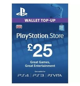 Playstation Store Network Code £25 (PSN, PS4, Plus)
