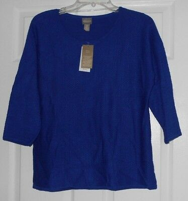 Chicos Apparel Melinda Blue Grotto Pullover Sweater Size 0  S  Nwt