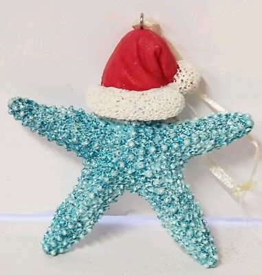 Nautical Beach Sea Ocean Blue Starfish w/ Santa Hat Christmas Ornament New