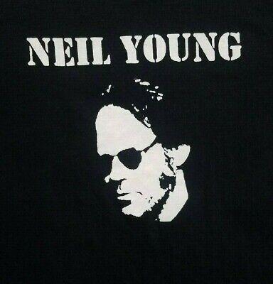 Neil Young **LARGE*** screen printed t-shirt Black retro Classic Screen Print Jersey
