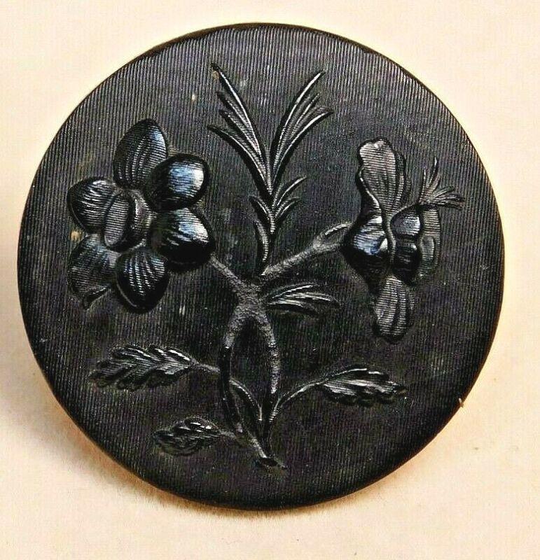 Antique Vtg Button VICTORIAN Black Molded Horn Floral Design Back Marked #H1