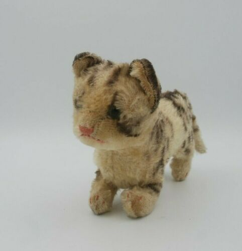Vintage Steiff Tabby Cat 1960s, mohair, glass eyes