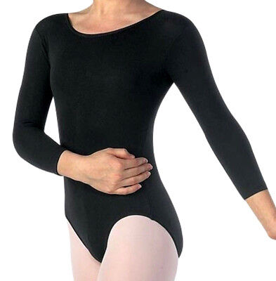 Langarm Trikot Gymnastikanzug Ballettanzug Turnanzug ab Gr. 110 bis 3XL, schwarz ()