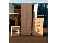 Childs wardrobe, chest of drawers, bedside cabinet