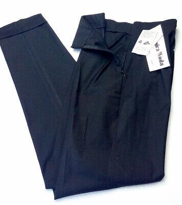 Pantalone donna taglia 40 nero dritti sigaretta vita alta lana Made in Italy