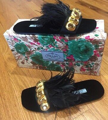 NIB $850 PRADA Calzature Donna Raso Pium Feather Slides Sandals 37 1/2 7.5