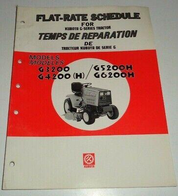 Kubota G3200 G4200 G5200h G6200h Lawn Garden Tractor Flat Rate Schedule Manual