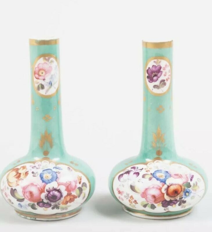 Exquisite Pair Of English Porcelain Green Ground Small Gourd Form Bottle Vases