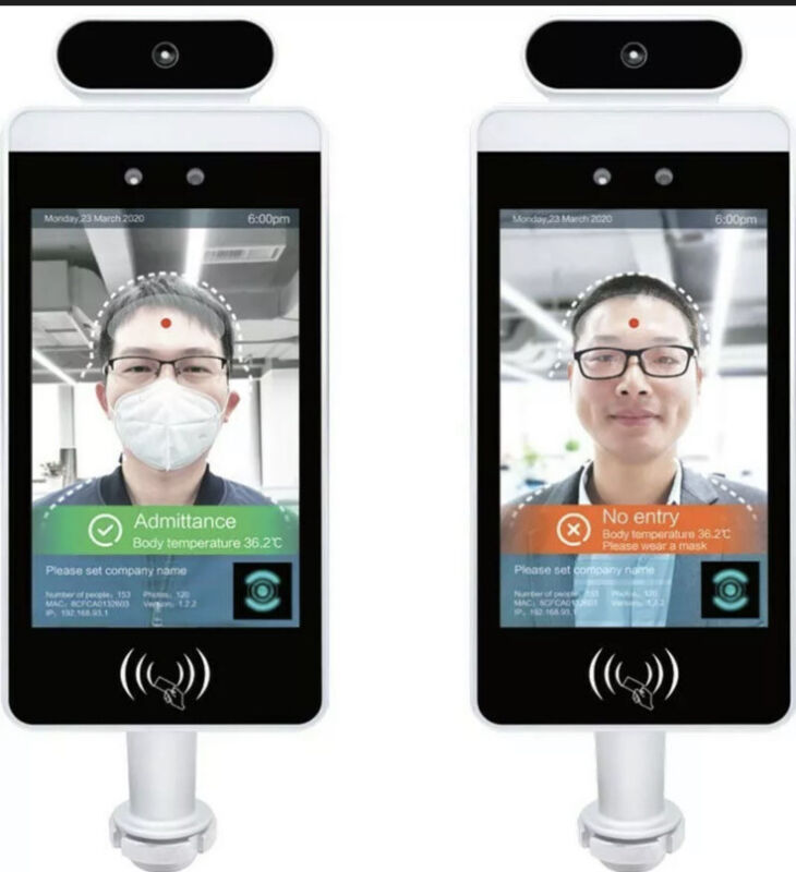 Face Recognition Body Temperature Scanner System Infrared Access Control