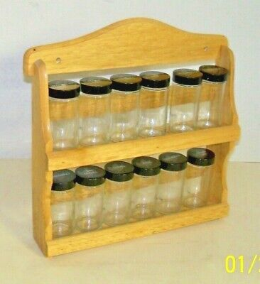 """Spice Rack All Wood """"Kamenstein Style"""" 14 Spice Bottles 2 Tier Wall - Table NOB"""