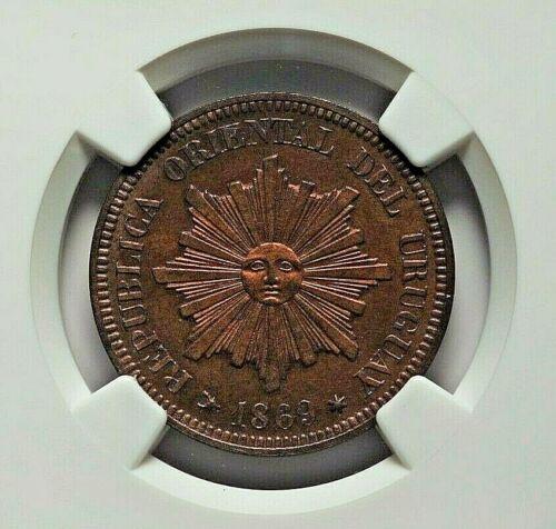 1869-H URUGUAY REPUBLIC BRONZE 2 CENTESIMOS NGC PROOF-63
