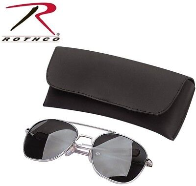 Chrome & Smoke Aviator Pilot Sunglasses Air Force Style Case 52 MM Rothco (Air Force Style Sunglasses)