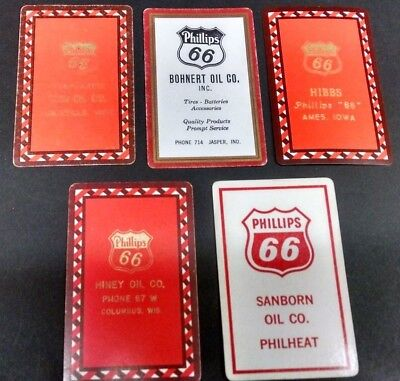 Old Vintage Phillips 66 Oil  Gas  5  Single Playing Cards Lot
