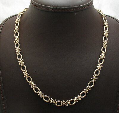 "18"" Textured Hugs and Kisses XOXO Oval Link Chain Necklace Real 14K Yellow Gold"