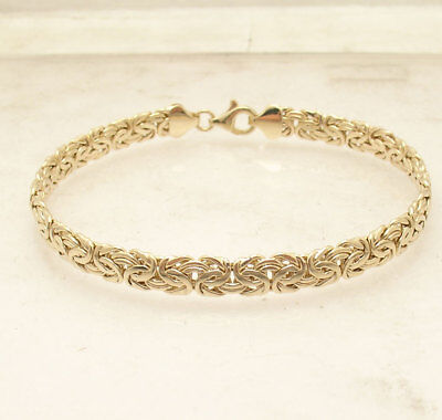 """8""""  All Shiny Byzantine Bracelet with Lobster Lock Real 14K Yellow Gold 6mm"""