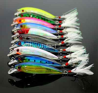 10Pcs Kinds of Minnow Fishing Lure Bait Bass Crank Bait Tackle Feather Hook 9cm