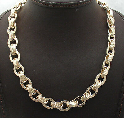Technibond Unique Hammered Oval Link Chain Necklace 14K Yellow Gold Clad Silver - Hammered Oval Link Chain