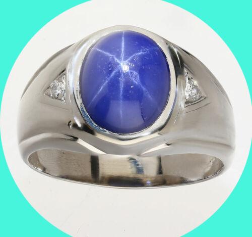 Mens vintage 5.91CT VVS diamond Linde star sapphire ring 14K WG 10.7G sz 11