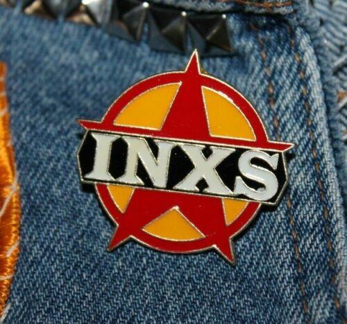 Vintage INXS enamel pin NOS retro 80s Australia rock new wave hat lapel bag star