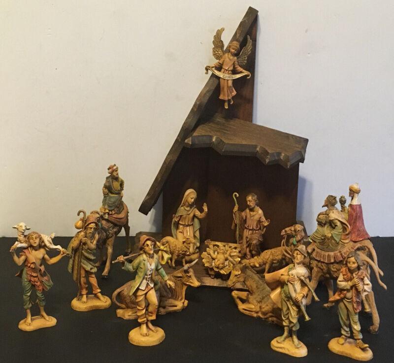 VINTAGE Fontanini Nativity Set Depose SPIDER Italy Figurines 17 Pieces + Manger