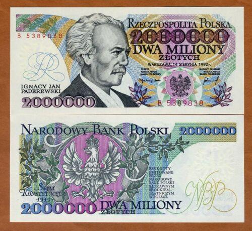 Poland, 2000000 (2,000,000) Zlotych, 1992, P-158b, UNC > Hyperinflation