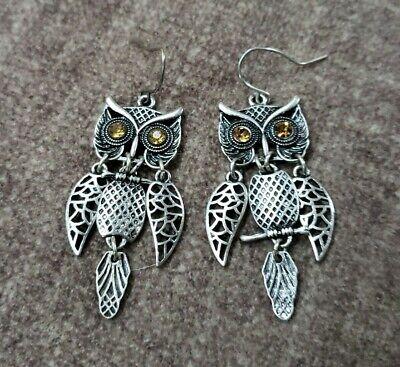 Hinged Owl Earrings Moving Wings Body Tail Detailed Rhinestone Eyes