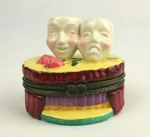 Comedy & Tragedy Masks Theatre Stage Porcelain Trinket Pill Box with Rose Inside